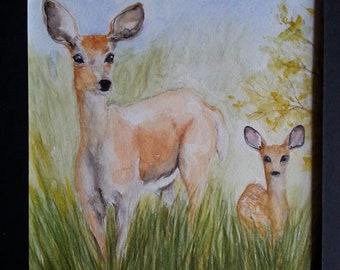 Deer watercolor painting,deer and fawn,home decor,original painting,nature,deer painting,mother daughter deer,