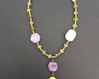 Ceramic flower and leaf beaded necklace