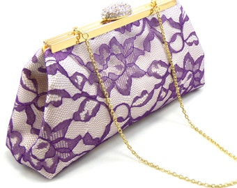 Bridesmaid Gift Clutch, Mystic Purple, Yellow And Ivory Wedding Clutch, Bridal Clutch, Mother Of The Bride Gift, Bridal Shower Gift