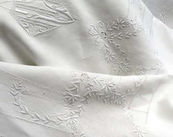 Antique French Linen Sheet & Pillowcase Monogram MC CM Superb Embroidery 240 cms Wide (7ft 11 ins)