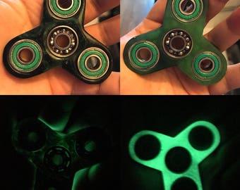 Green Glow in the Dark Resin Fidget Spinner