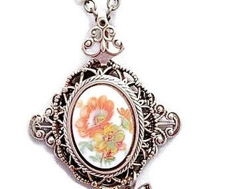 Butterfly and Flower Pendant, Butterfly Necklace, Butterfly Jewelry,  Vintage FLower Necklace, Floral Jewelry, Filigree Flower Necklace