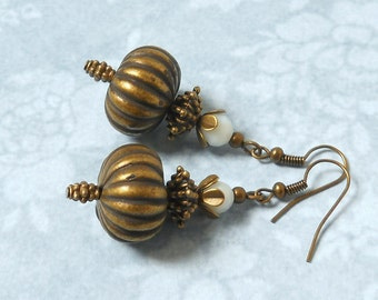 SALE dangle earrings white earrings white jewelry dangle earrings white and bronze earrings filigree earrings boho