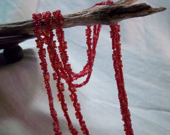 """Handmade Woven Seed Bead Necklace - pink & red 45"""""""