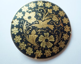 Damascene  Brooch with Trombone Hinge Fastener and Nature Detail