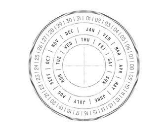 Rubber stamp - Perpetual circle date