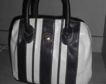vintage Navy and White Stripes ~ Handbag ~ Shoulder Bag ~ Purse ~ White Stag Vegan top handles