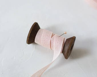 """Nude Blush Pink Loose Weave Cotton Ribbon (with Wooden Spool) - 5 yards - 1/2"""" wide"""