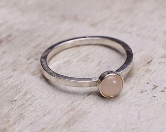 Peach Moonstone Silver Satellite Ring