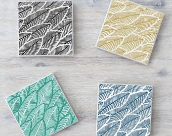 Banana LeafCeramic Tile Coasters