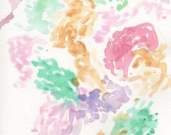 Abstract nursery watercolor, abstract nursery print, nursery wall art,  pink, gold, green, girl nursery art, 8 x 10, modern nursery art