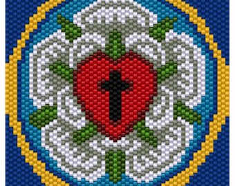 Lutheran Rose Symbol Peyote Bead Pattern, Tapestry, Wall Art, Seed Beading Pattern Miyuki Delica Size 11 Beads - PDF Instant Download