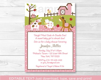 Pink Farm Animal Baby Shower Invitation INSTANT DOWNLOAD Editable PDF A328