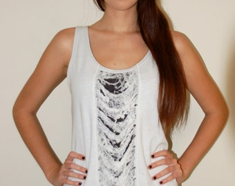 Unraveled Tank top Cotton White-Black Size S/M