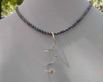 Lavender FWP necklace with freeform Silver pendant