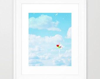 Sky Blue Photography - Nursery Wall Print - Balloon photograph - Cloud photo - wall Print - home decor