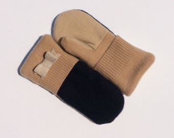 Cashmere Sweater Mittens, Navy and Tan Fleece Lined Mittens, Gift for Her, Gift under 30, Teacher Gift