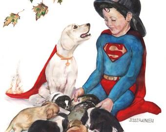 Pride of Heroism Print- Superboy/ Superman
