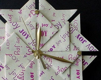 Origami 1st Wedding Anniversary Paper Gift   Joy  Clock in Purple-Large