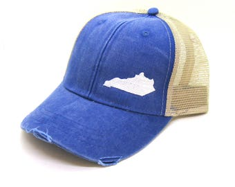 Kentucky Hat - Distressed Snapback Trucker Hat - off-center state pride hat - Pick your colors