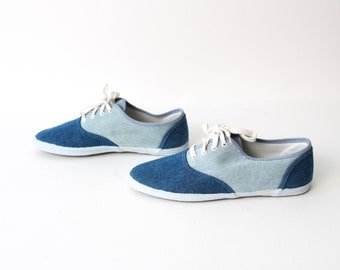 size 8 KEDS style canvas 80s 90s two toned DENIM slip on elastic flats