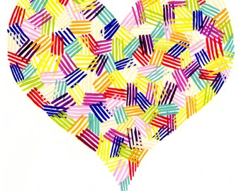 Multi-colored Patterned Heart Valentine's 8x10 Print