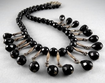Black Onyx Stone Gemstone with Vintage Brass Chain Links Fringe Dangle Necklace with Free USA Shipping