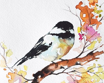 Original Watercolor Bird Painting, Colorful Chickadee, Bright Colored Art 6x8 inch