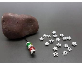 50 caps cups 5x5mm silver stars