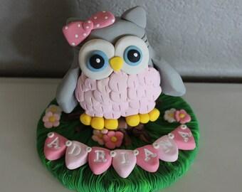 Owl Custom Cake Topper for Birthday or Baby Shower