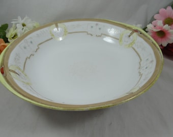 1900s Vintage Hand Painted Nippon Beaded Moriage Serving Bowl