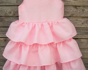 Party Dress, Ruffle Dress, Summer dress, Girl clothing, Flower girl dress, Girls linen dress, Birthday dress, Ruffles, Dress, Toddler dress