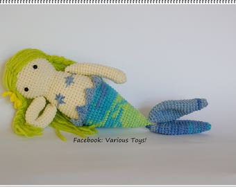 Crochet blue green mermaid doll Little Miss Mermaid, Crochet Mermaid, stuffed doll, mermaid, Amigurumi Mermaid, Soft and Plush Mermiad
