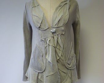 Artsy linen cardigan, L size. Only one sample.