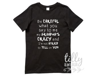 Be Careful What You Say To Me My Grandma's Crazy And I'm not Afraid To Tell On You TShirt