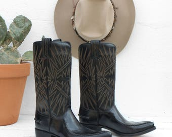 6.5 D | 1970's Vintage Spanish Dan Post Cowboy Boots Black Stovepipe Western Boots Made in Spain