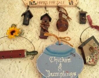 """Country Kitchen Wall Art, Clearance on hand painted wood decorations,Wood Birdhouses rolling pin,chicken and dumplings, 4 piece set 3"""" to 6"""""""