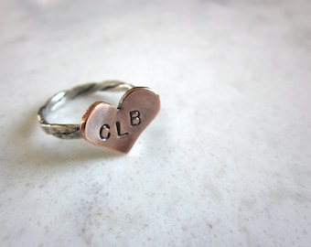 Copper Heart Ring with Initials