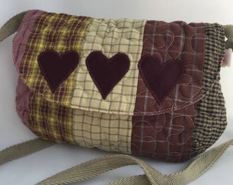 Multicolour home spun patchwork purse bag
