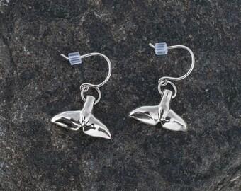 Sea Tail Dangle Earrings - Sterling Silver, Whale, Dolphin, Mermaid, Porpoise, Fluke Charm