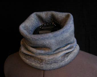 Knitted snood scarf    Tube grey scarf  Wool woman scarf Grey snood Neck snood Knitted wool snood Woolly snood Snood for woman Cowl neck