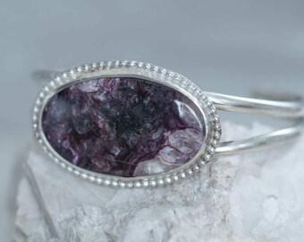 Purple Charoite Stone Cuff Bracelet in Sterling Silver