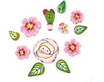 Mini Flower buttons, pink rose cactus leaves, Set of 12 Handmade Polymer Clay buttons DIY sewing supply mini boutons broderie couture fleurs