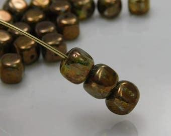 5x7mm Czech Cube Beads Transparent Gold Smokey Topaz Luster (25pk) SI-5X7C-TSTL