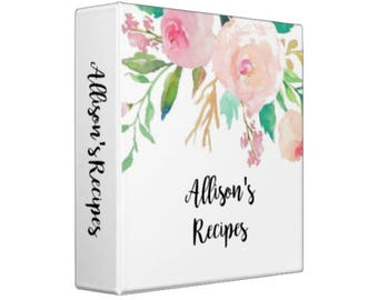 WATERCOLOR PEONIES Personalized Recipe Binder -  Recipe Organizer; Wedding Gift; Shower Gift