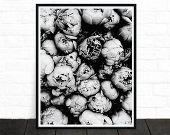 Peony Print, Flower Print, Peony Art, Black and White Poster, Black and White Photography, Minimalist Photos, Floral Print, Printable Art