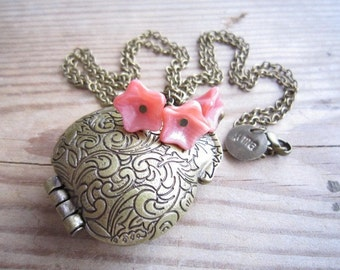 Millie Large Purse Locket in Rose and Brass