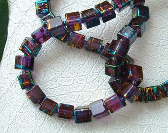 set of 10 beads glass COSMIC AMETHYST square 4X4mm NET with silver and blue