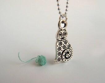 Cat Necklace, Cat Lover Jewelry, Cat Jewelry Silver, Silver Cat Necklace, Silver Cat Charm Necklace, Laurel Burch Jewelry