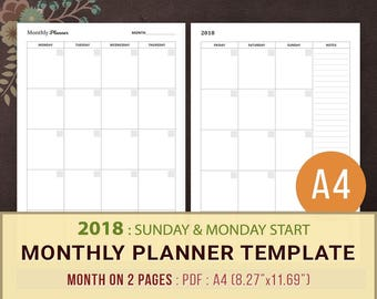 2018 Monthly Planner Template Printable, Planner Inserts, A4, Month on Two Pages, MO2P, Monthly Agenda, Goals, Instant Download